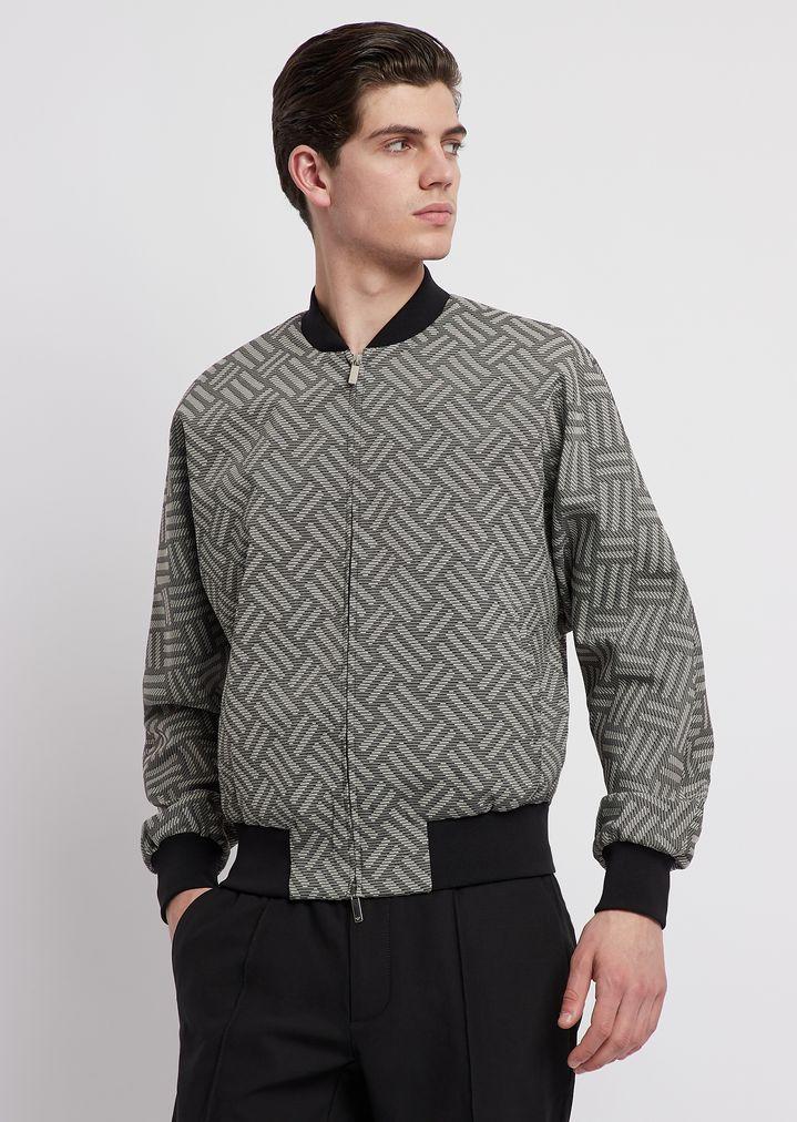 a2db280847 Nylon bomber jacket with jacquard weave pattern