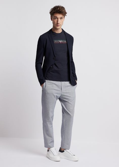 Single-breasted blazer in textured wool/viscose