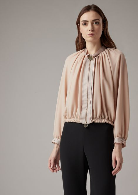 Blouson in veil-effect knit with silk grosgrain details