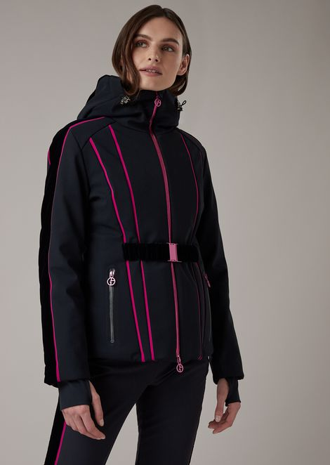 Padded waterproof ski jacket in technical fabric with velvet inserts