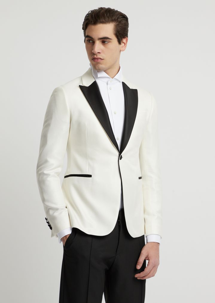 Slim-fit tuxedo jacket in viscose with satin lapels
