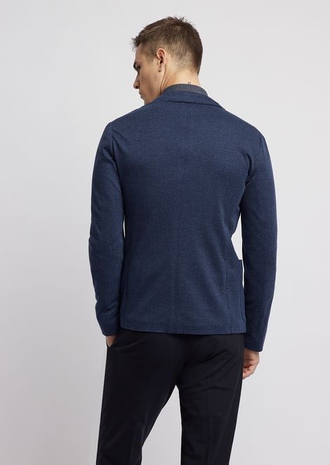 Micro-patterned jersey single-breasted blazer