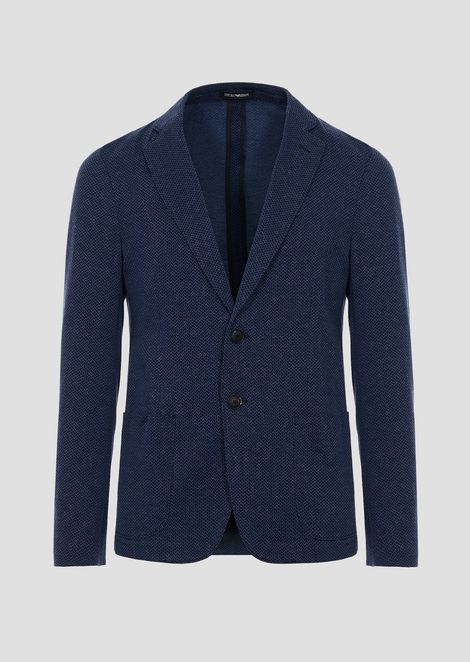 Micro-patterned jersey single-breasted jacket