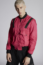 DSQUARED2 Nylon Boxy Bomber With Large Flap Pockets And Zip Shoulder Details Jacket Man