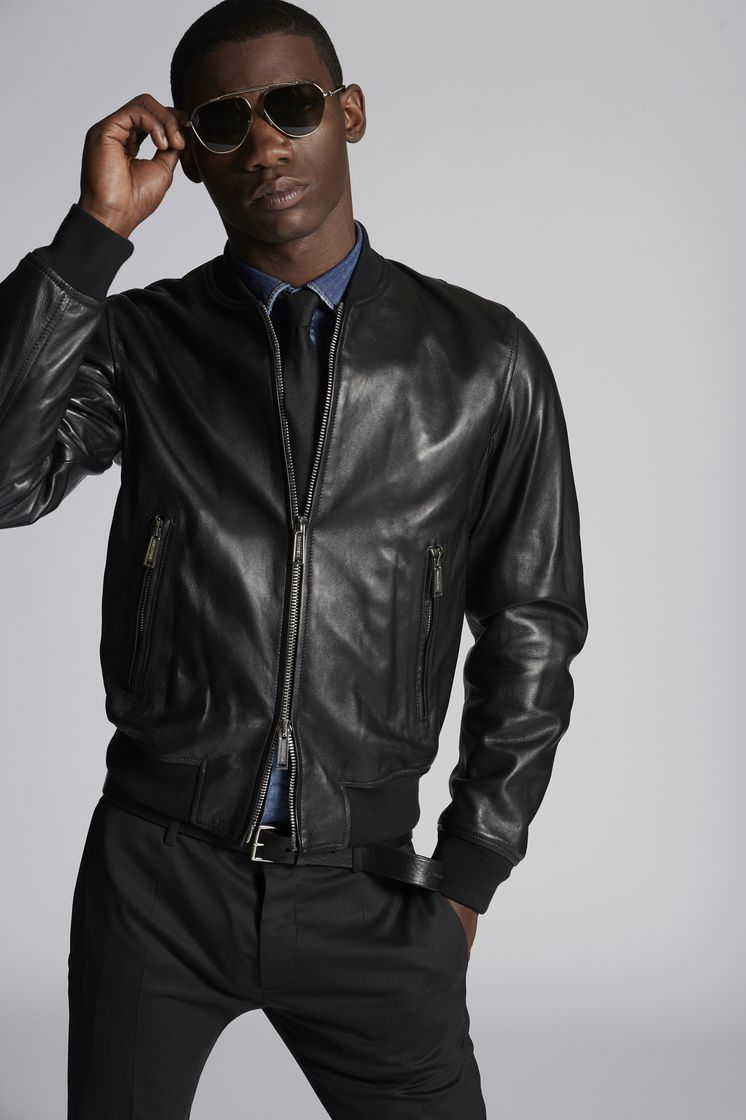 DSQUARED2 Leather Aviator Bomber  Leather outerwear Man