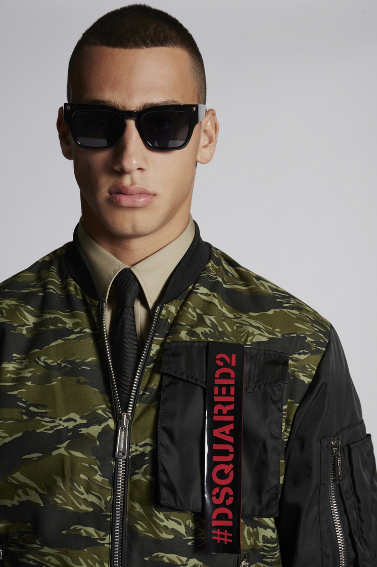 DSQUARED2 Mixed Nylon And Camouflage Skinhead Bomber With Punk Logo Tape Pocket Detail Jacket Man