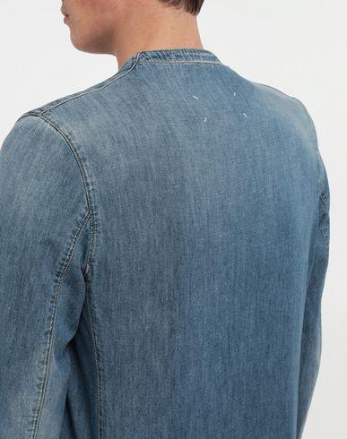 COATS & JACKETS Collarless denim jacket Blue