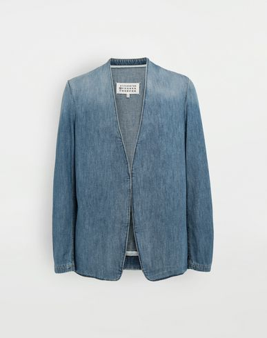 MAISON MARGIELA Blazer [*** pickupInStoreShippingNotGuaranteed_info ***] Collarless denim jacket f