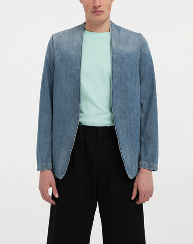 COATS and JACKETS Collarless denim jacket Blue