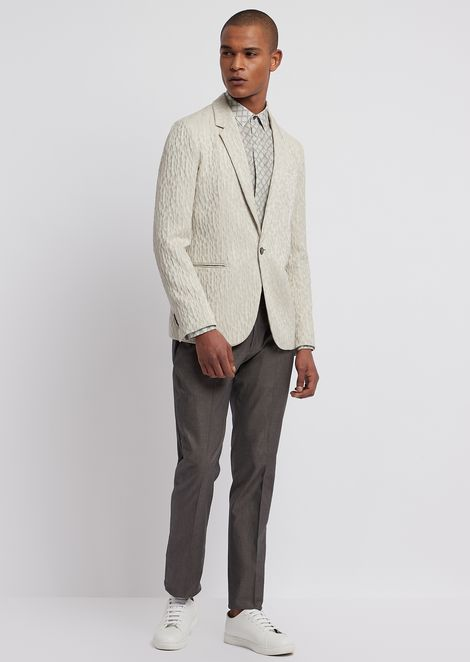 Single-breasted blazer in crinkle jacquard
