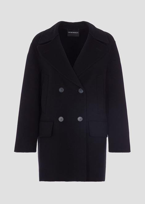 Double-breasted peacoat in double cashmere