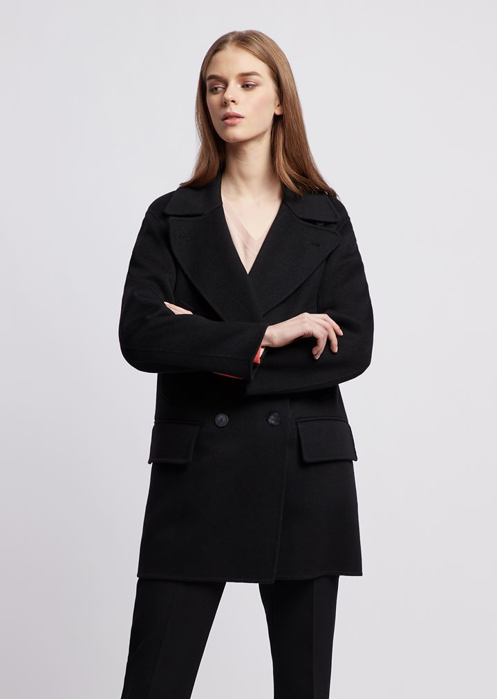 check out buy popular world-wide selection of Double-breasted peacoat in double cashmere