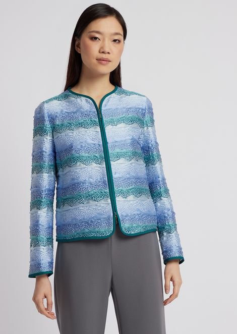 Jacket in stretch jersey pattern with zipper