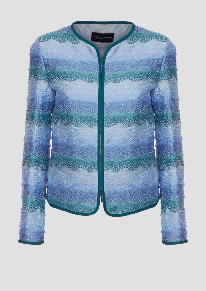69f4fedf3c Jacket in stretch jersey pattern with zipper