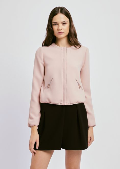 Bomber jacket in techno crepe with side pockets