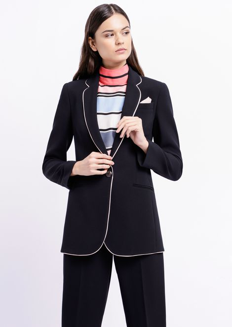 Single-breasted blazer with contrasting trim