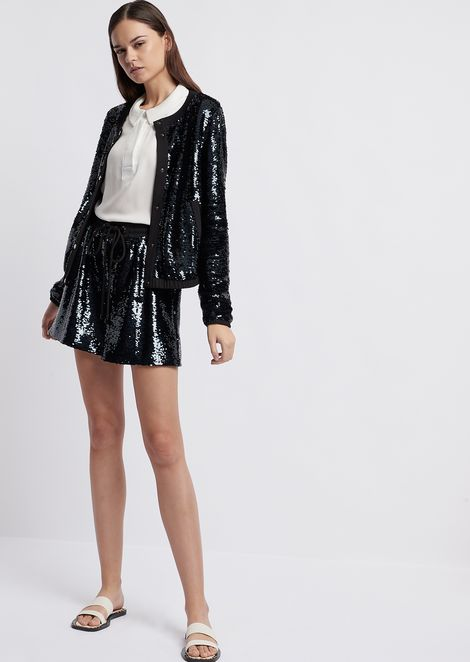 Sequinned fabric bomber jacket with tone on tone sequins