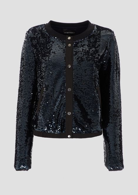 Shimmering fabric bomber jacket with tone-on-tone sequins
