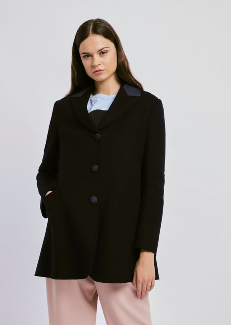 Single-breasted wool and cashmere peacoat with detail on lapels