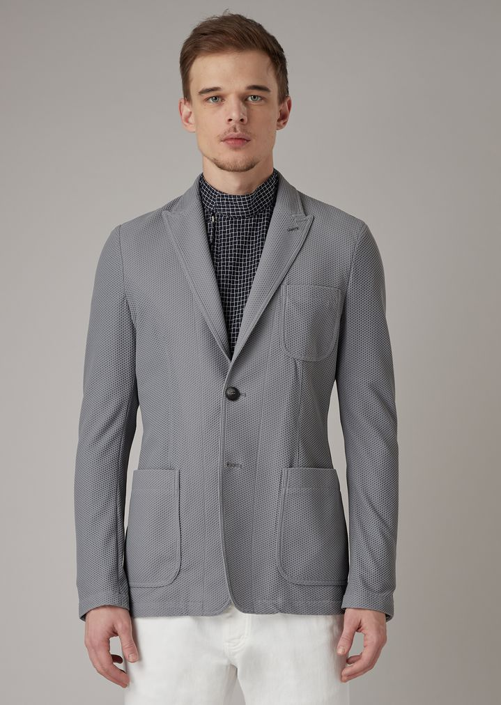 5701d8cccb Slim-fit jacket in warp-knitted gaufre tech fabric