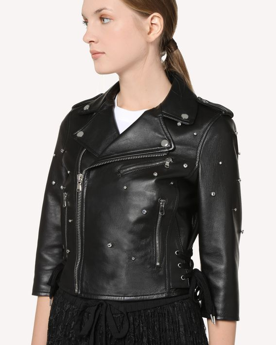 REDValentino Rhinestone detail leather biker