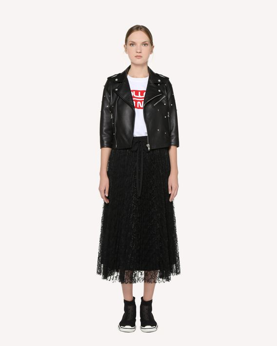 REDValentino Rhinestones detail leather biker