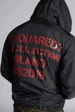 DSQUARED2 Nylon Zipped Hooded Pullover With Punk Logo Printed Zip And Print On Back Parka Man