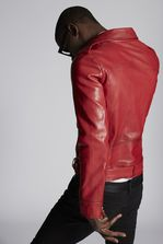DSQUARED2 Mixed Leather Belted Perfecto With Large Patch Pockets Leather outerwear Man