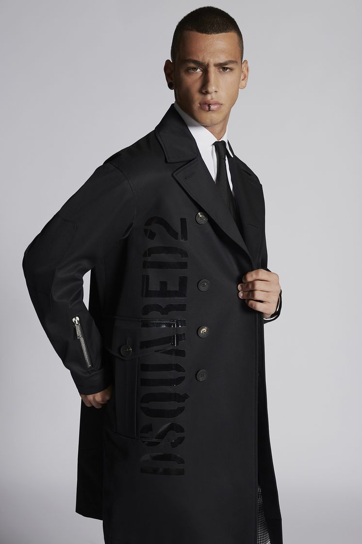 DSQUARED2 Double Breasted Military Coat In Cotton With Shiny Military Logo Print Пальто Для Мужчин