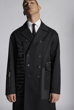 DSQUARED2 Double Breasted Military Coat In Cotton With Shiny Military Logo Print Coat Man