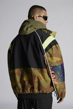 DSQUARED2 Mixed Cotton And Camouflage Cotton Bomber With Neon Sport Details Parka Man