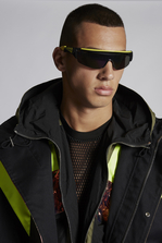 DSQUARED2 Mixed Cotton And Camouflage Cotton Bomber With Neon Sport Details Парка Для Мужчин