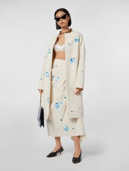 Marni Duster coat in hand-painted stretch cotton cloth Iride print Woman