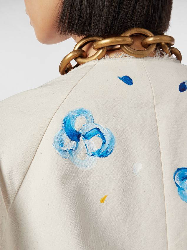Marni Duster coat in hand-painted stretch cotton cloth Iride print Woman - 4