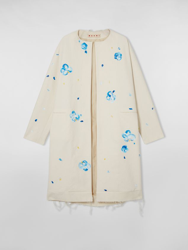 Marni Duster coat in hand-painted stretch cotton cloth Iride print Woman - 2