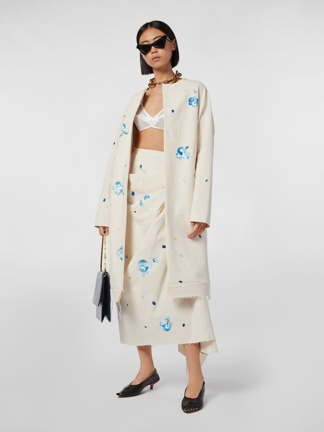Marni Duster coat in hand-painted stretch cotton cloth Iride print Woman - 1