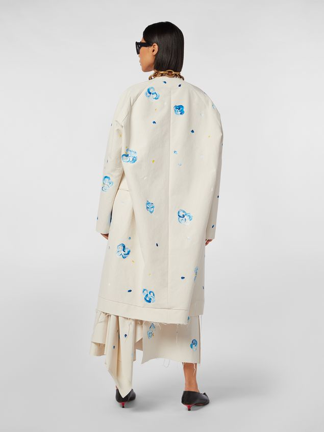 Marni Duster coat in hand-painted stretch cotton cloth Iride print Woman - 3