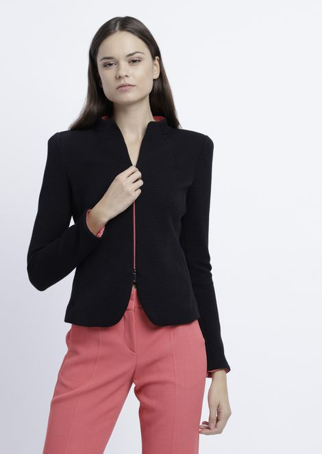 5b188a073e97 Matelassé jersey jacket with raised honeycomb design