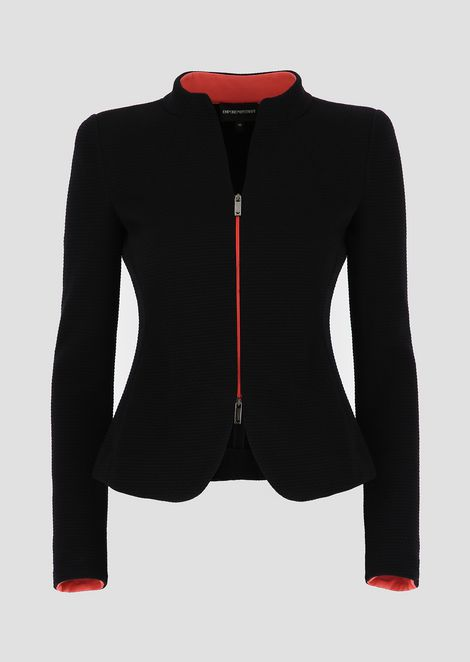 Matelassé jersey jacket with raised honeycomb design