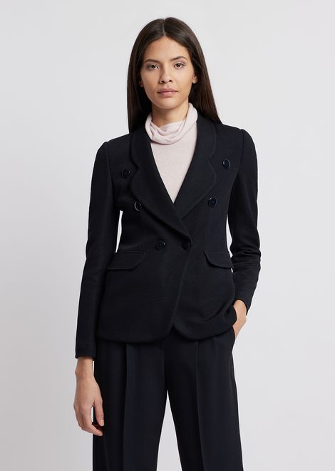 Double-breasted jacket in textured jersey