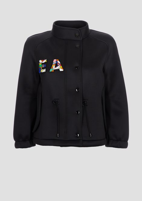 Shiny scuba fabric blouson with detachable EA patches