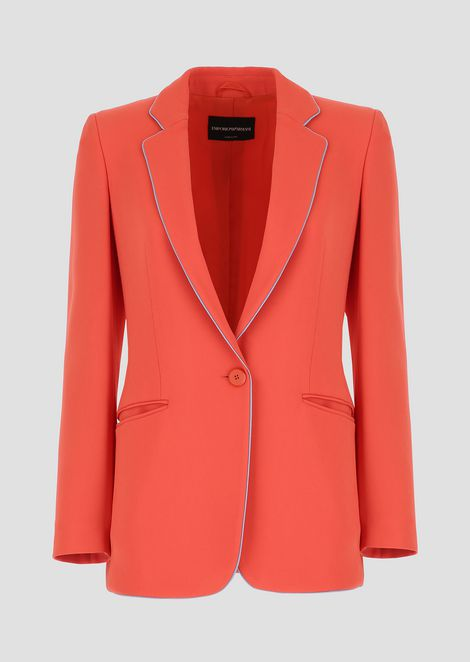 Single-breasted blazer in cady with contrasting piping