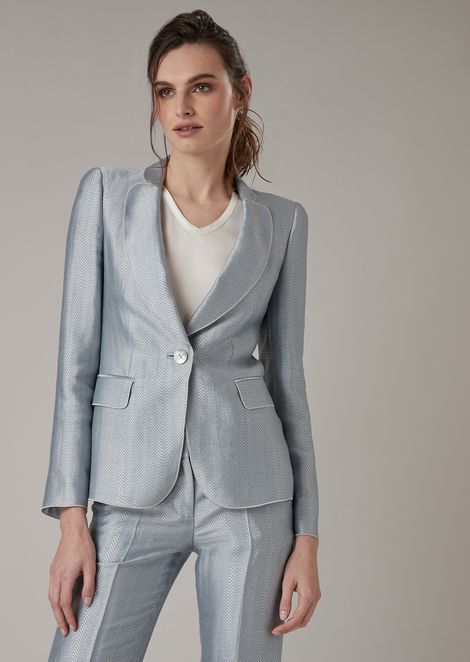 Single-breasted blazer in chevron jacquard mixed linen