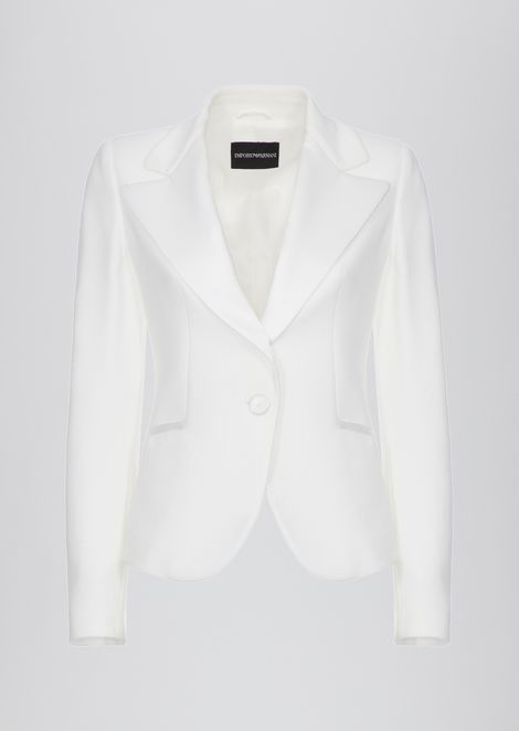 Single-breasted cady jacket with satin lapels