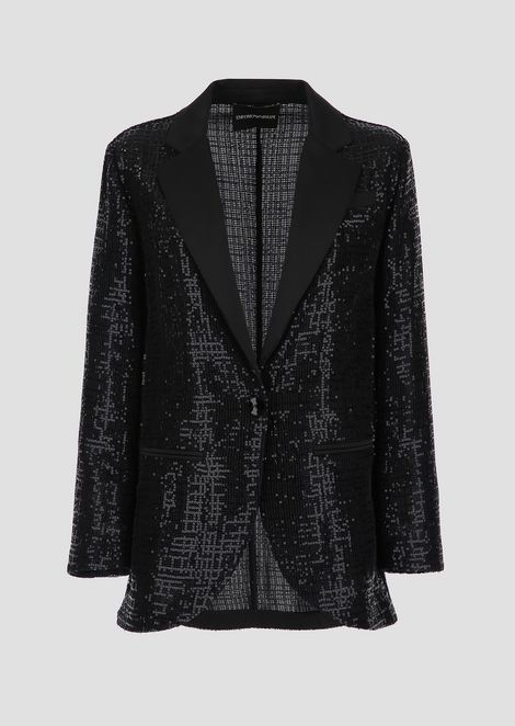Single-breasted mesh jacket embroidered with micro sequins