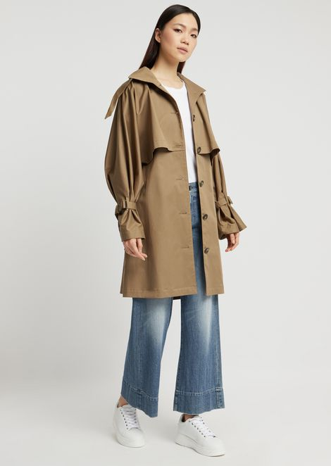 Stretch twill trench coat with storm flap