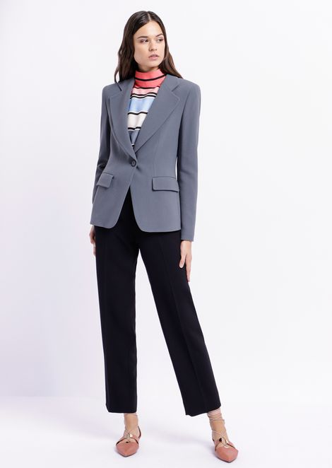Single-breasted blazer in cady with classic lapels