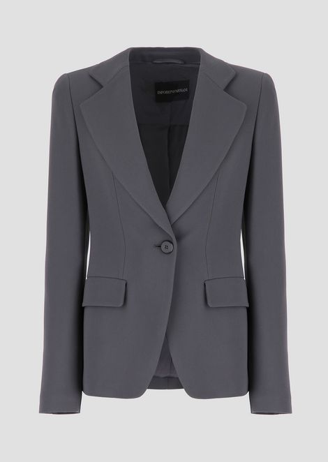 Single-breasted cady jacket with classic lapels