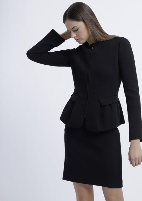 Flared double crepe jacket with zipper and peplum