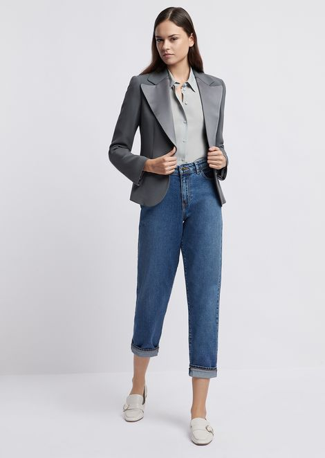 Single-breasted blazer in cady with satin lapels